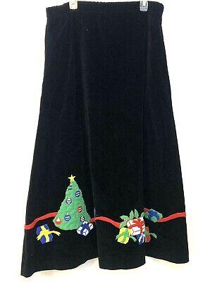 Vintage Eagle's Eye L Black Velvet Christmas Skirt Tree Presents Embroidered