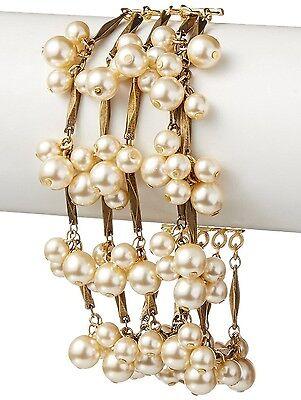 David Aubrey Hadrien USA Made Gold Chain & Simulated Pearl Fringe Bracelet NWT