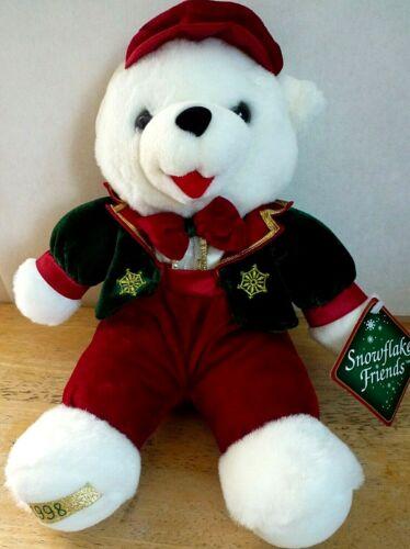 "NWT Vintage 1998 Snowflake Friends White Teddy Bear Plush Stuffed Animal 13"""