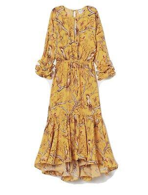 Johanna Ortiz X H&M Yellow Bird Crepe Maxi Dress Medium (12/14) SOLD OUT BLOGGER