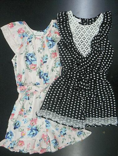 Girls Bonnie Jean Foral & Black W/ White Polka Dots Rompers Sizes 7 - 16
