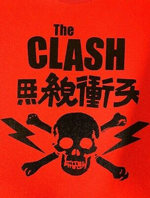 The Clash Vintage Japanese Skull & Crossbones Red T-Shirt *Brand New* +Bonuses Clash Tee Shirts