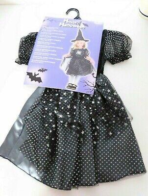Kinder Hexenkostüm mit Hut Schwarz/ Silber Gr. 92-104 *Halloween* - Silber Hexe Kostüm