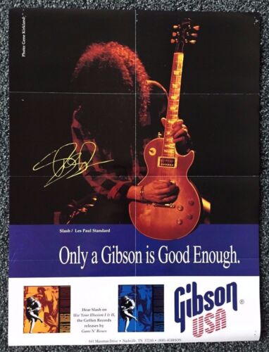 """SLASH - 1993 Gibson Poster 24"""" x 18""""- w/ Les Paul Collection on Back"""