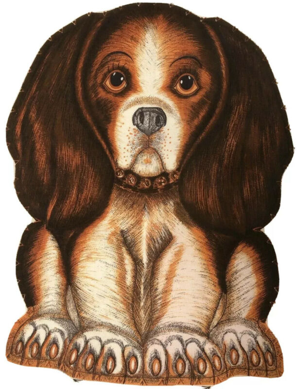 Vintage Basset Hound Beagle Dog Puppy Craft Fabric Panel Cut n Sew Toy Pillow