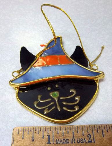 Halloween Ornament colored Glass style, Black Cat & hat, cute collectible, heavy