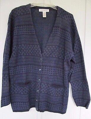 Navy Blue Knit Sweater Jacket Blazer - Womens Misses Size Medium Jones New York