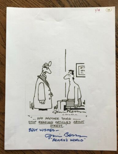 "Jim Berry, Original Cartoon Artwork signed, ""Berry"
