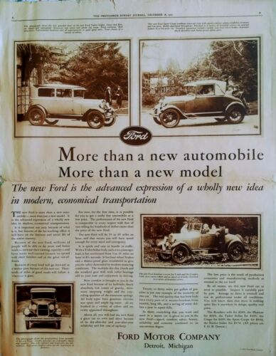 1927 Ford Newspaper Ad - Roadster - Tudor - Sport  Coupe -  Full Page 12/18/1927