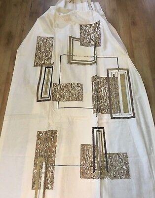 Pair 1950's Geometric Mocha Brown Barkcloth Curtain Drapes