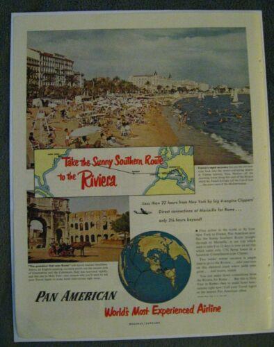 Pan Am American Airlines 1950 Advertisement - Vintage PAA Riviera World Airways