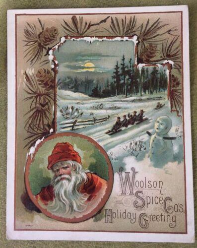 Lion Coffee Woolson Spice Christmas Santa Greeting LRG Old Victorian Trade Card