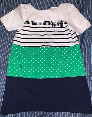 Navy and Green Stripes and Polka Dots GYMBOREE Dress Girls Size 6 EUC (Stripes And Polka Dots)