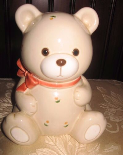 Vintage Otagiri Japan Teddy Bear Piggy Bank  Hand Crafted Ceramic with Stcker