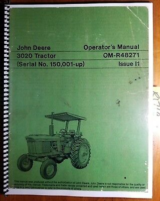 John Deere 3020 Tractor Sn 150001- Owners Operators Manual Om-r48271 I1 971