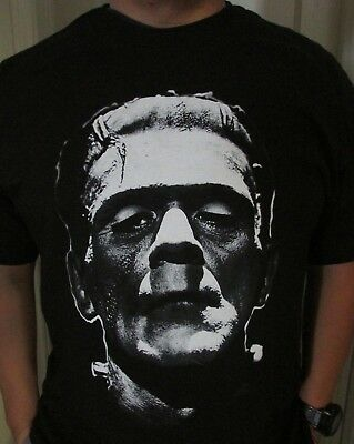 NEW HORROR MOVIE UNIVERSAL MONSTER WHITE FRANKENSTEIN BLACK T SHIRT HALLOWEEN