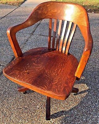 Used, Vintage pre-1932 Crocker Chair Co Oak? Wood Banker Lawyer Rolling Swivel Office for sale  O'Fallon