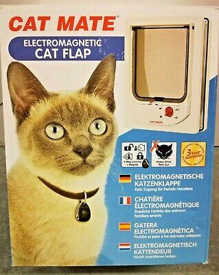 - Cat Mate Electromagnetic Flap White Kitty Door Flaps Pet Lockable Doorway White
