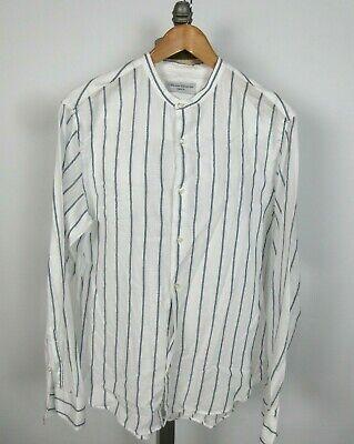 OFFICINE GENERALE Sz L L/S Grandad Collar Shirt Button Up White Blue Stripe