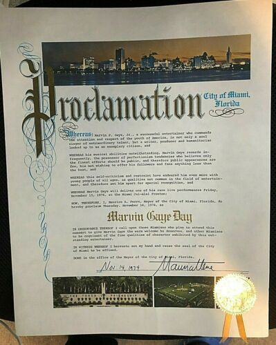 """MARVIN GAYE PERSONALLY OWNED ORIGINAL 1974 MIAMI """"MARVIN GAYE DAY"""" PROCLAMATION!"""