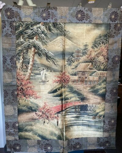 Vintage Antique Large Japanese Embroidered Silk Tapestry Wall Hanging Art