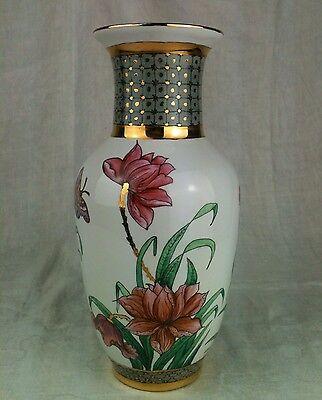 "Edle Vase Handmalerei Peonien mit Goldstaffage Signiert ""OSHI 1997"" Unikat"