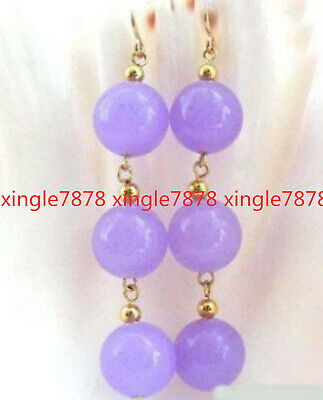 Natural 8mm Lavender Purple Jade Beads Gemstone  Hook Dangle Earrings for sale  Shipping to Canada