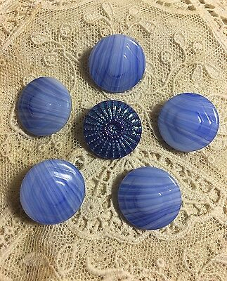 "Vintage Blue 3/4"" Glass Buttons Button Lot 58-7"
