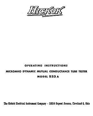Hickok 533a Tube Tester Manual