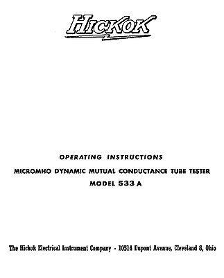 Hickok 533a Tube Tester Manual