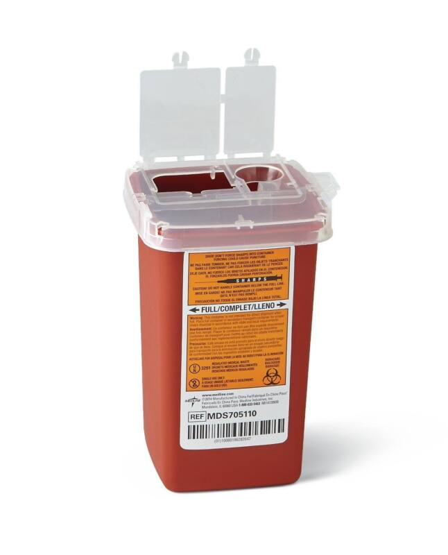 Medline Sharps Container Biohazard Needle Disposal Container  1 Quart