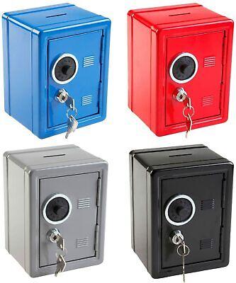 Hucha caja fuerte metálica 16x12x10 cm,2 llaves,rueda combinación,ranura monedas
