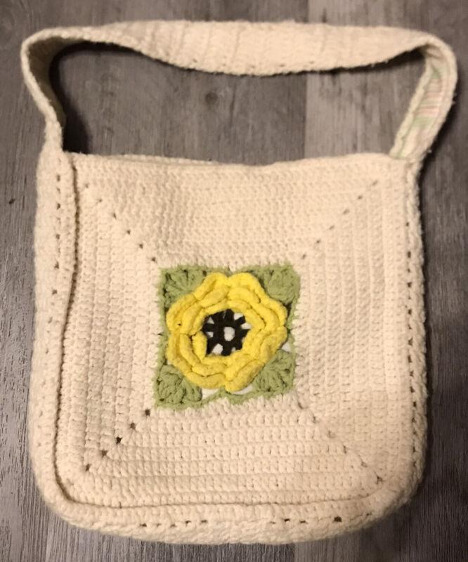 Vtg Handmade Afghan Handbag 3D Yellow Rose 1960s 1970s GRANNY RETRO BOHO