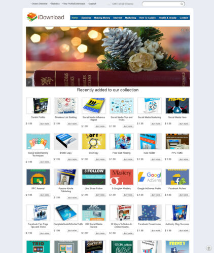 eBooks, Digital Products Store Website  - 200+ items PRELOADED