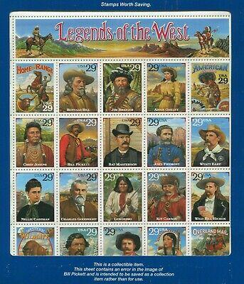 #2870 - Legends of the West - Full Sheet in Original Blue USPS Folder = MNH.