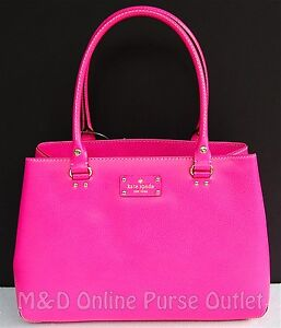 NWT-NEW-Authentic-Kate-Spade-Wellesley-Leather-Elena-Purse-Bag-Tote-Fiesta-Rose
