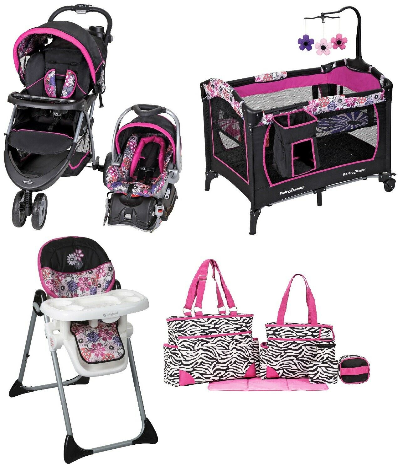 Baby Trend Girls Pink Stroller Combo Set Infant Travel Syste
