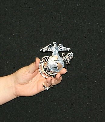 "USMC OFFICER GLOBE AND ANCHOR METAL SIGN 4""X4""(EGA) W/MAGNET ON BACK- PhotoSTEEL"