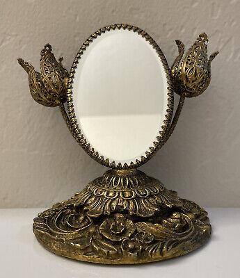 Vintage Vanity Mirror Makeup Hollywood Regency Beveled Flower Lipstick Holders