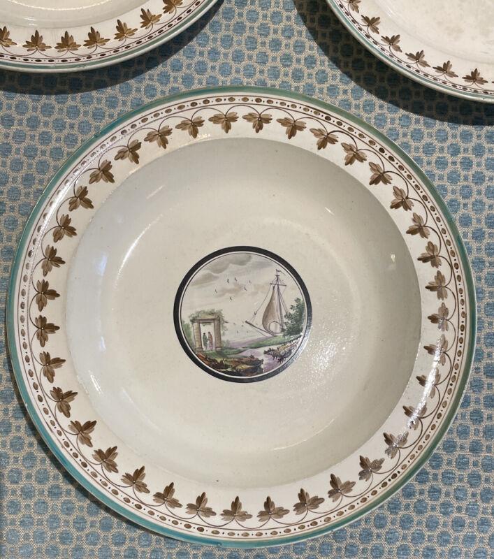 7 Exquisite Antique Creamware Plates