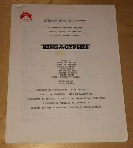 King Of The Gypsies Handbook Of Production Information Brooke Shields Film Movie