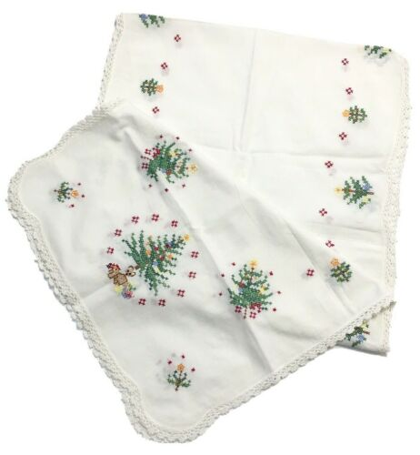 """Vintage Christmas Tree Table Runner Embroidered Cross Stitch Lace Edge 68""""x16"""""""