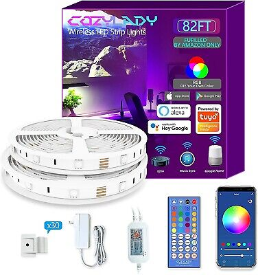 Cozylady LED Strip Lights 82Ft Controlled by APP, Remote , Voice