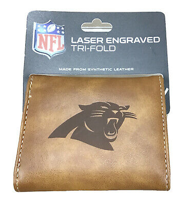 Carolina Panthers NFL Laser Engraved Brown Synthetic Leather Trifold Wallet Carolina Panthers Leather