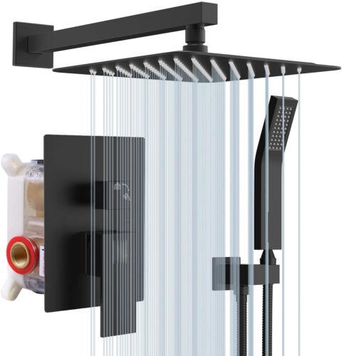 8 inch Rainfall Shower Faucet Set With Handheld Sprayer Matte Black Colors Mixer