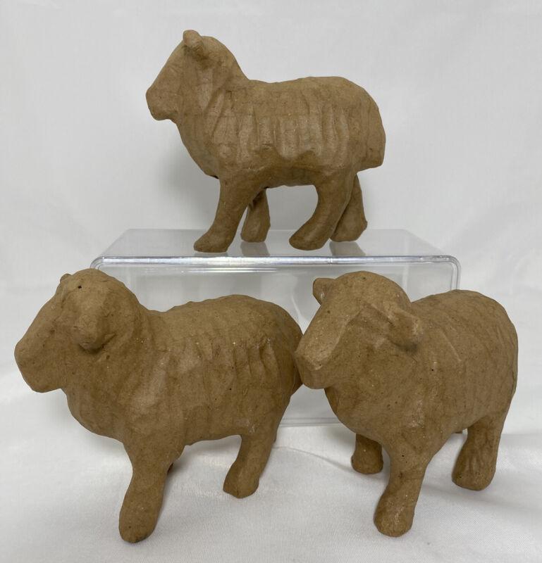Lot 3 Natural Paper Mache Sheep Craft Sculpture Form Pulp Paint Stain Decorate