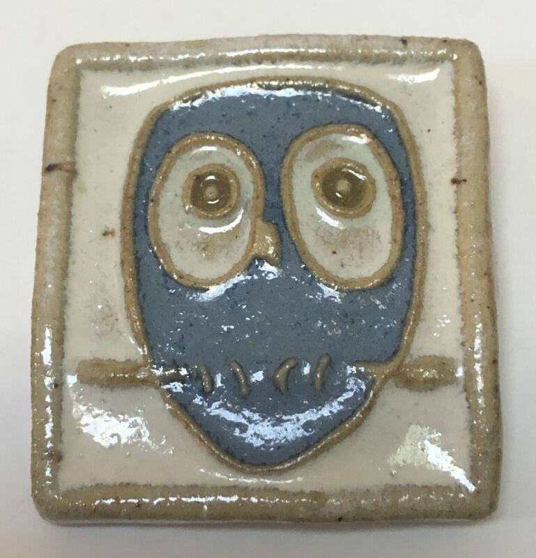 Vintage CUB Denmark Glazed Pottery OWL Brooch Pin