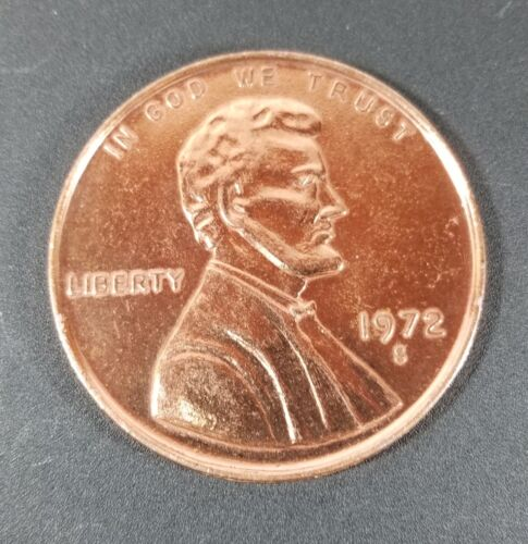 Large 3 Inch Novelty 1972 S Lincoln Penny Medal/Coin/Coaster/Paperweight Used