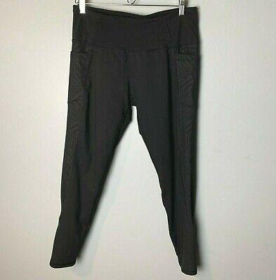 Z by Zobha Leggings Size Large 12 14 Side Phone Pockets Zipper Leg Backs Black
