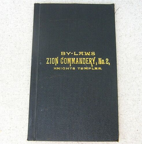 Antique Book 1888 By Laws Zion Commandery Knights Templar Minneapolis MN